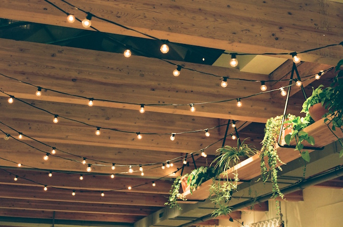 Lights strung among rafters